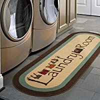 Ottomanson 20 X 59 Inch Text Laundry Collection Runner Rug (Brown / Oval)