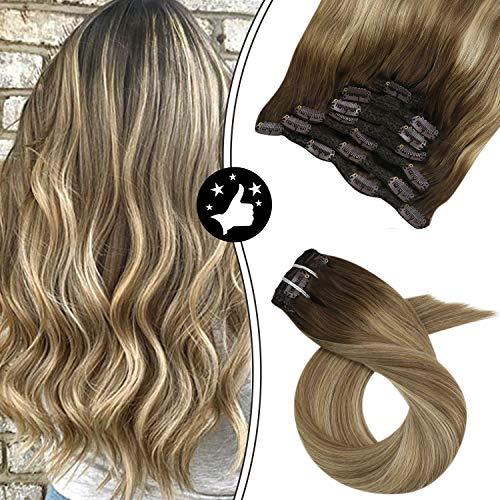 Moresoo 14 Zoll/35cm Ombre Balayage Clip in Glatt Haarteil Haarverlängerung Vollkopf Brasilianischen Menschen Haar Haarfarbe #3 Braun Fading to #8 Hellbraun and #22 70g 5 PCS