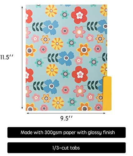 12 Cute File Folders -Floral File Folders & Colored File Folders in Vibrant Colors -Decorative File Folders -Pretty File Folders- 300 gsm Thick, Letter Size File Folders - 9.5 x 11.5 inch (Pack of 12) Photo #4