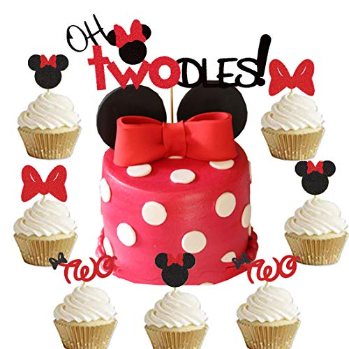 Oh Twodles Minnie Mouse Cake Topper and Cupcake Topper,Second 2nd Birthday Party Supplies Decorations for Baby Girl 31Pcs(Red)