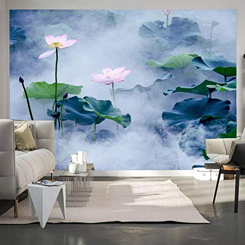Murales 3D Carta da parati Stile cinese Fiore di loto Pittura a inchiostro Studio Soggiorno TV Sfondo Pittura murale Tela-400 * 280cm