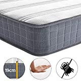Yaheetech 3FT Single Mattress Density Sponge 9 Layers 216 Bonnell Springs Mattress with Anti-mite Knitted Jacquard Cover 19CM Height Medium Soft Mattress