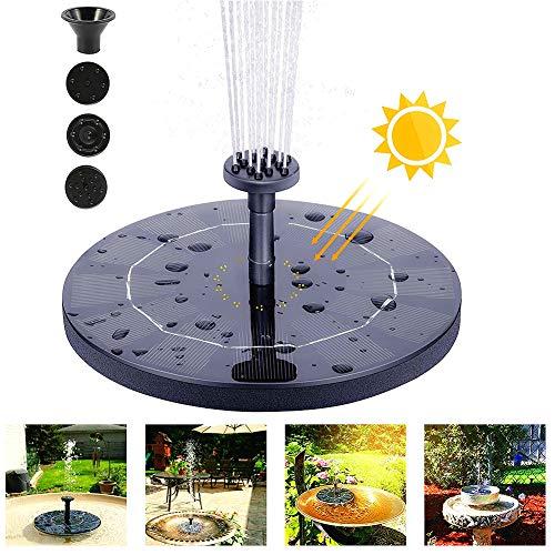 Zonnefontein Pomp, 1W Cirkel Tuin Zonne-Waterpomp, Drijvende Fontein Pomp voor Tuindecoratie, Ingebouwde Opslag Batterij voor Kleine Vijver, Vogelbad, Zwembad, Vistank en Gazon
