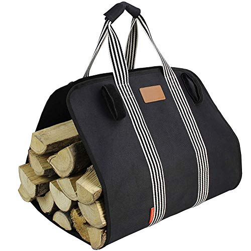MyFirePlaceDirect Heavy Firewood Log Carrier Tote, Oxford Canvas Fabric Foldable Wood Carrier Padded Handles, Large Capacity Firewood Carrier Bag with Hook and Loop