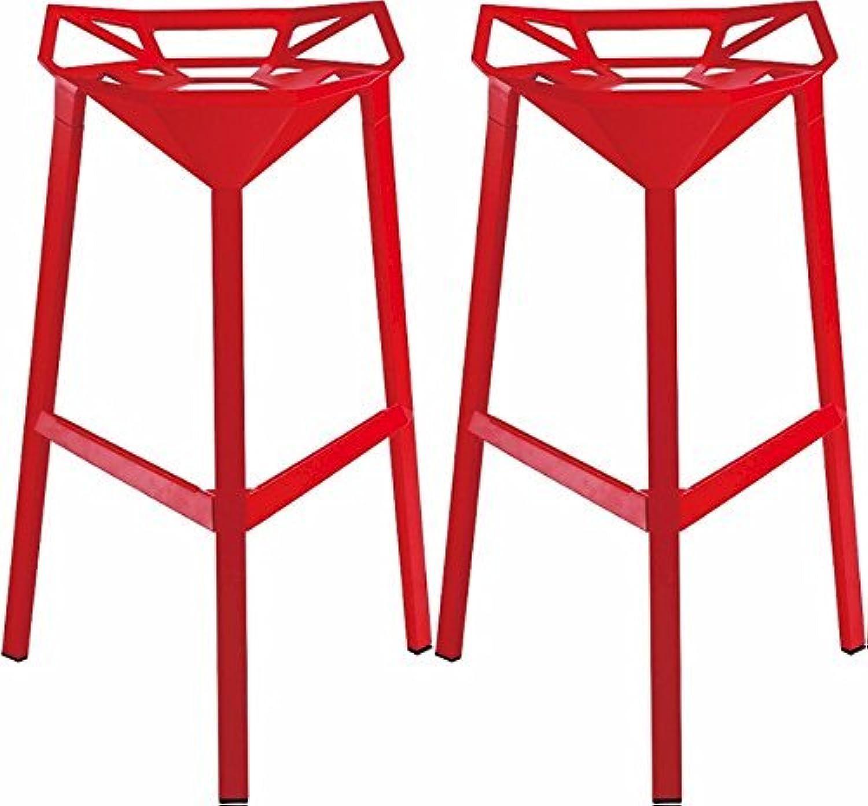 Mod Made Mid Century Modern Geometric Aluminum Barstool, Red, Set of 2