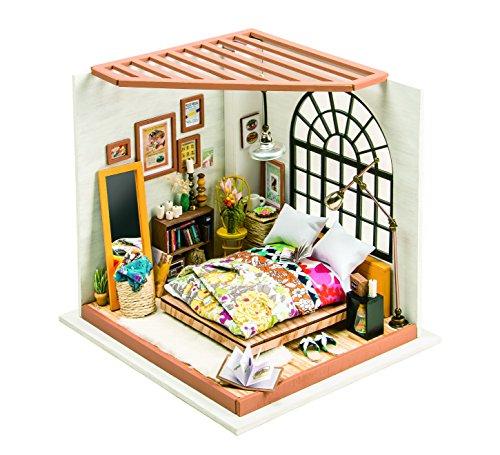 Led DIY Casa de Muñecas Miniatura Dormitorio Puzzle 3D
