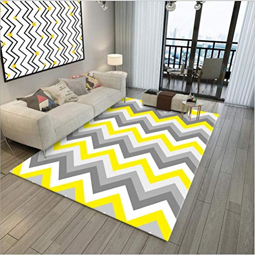 Modern antislip karpet, groot woonkamertapijt, wasbaar zwart grijs geel wit golvende lijnen 120x160cm (3ft11x5ft3)