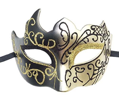 Flywife Hombres Mascarada Máscara Romano Griego Fiesta Máscara Veneciano Mardi Gras Halloween Disfraces Máscara (Dorado)