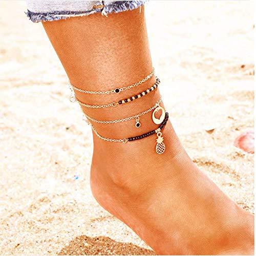 Nicute Boho gelaagde ananas hanger Anklet strand gouden kralen voet ketting munt hanger ketting voet sieraden voor vrouwen en meisjes