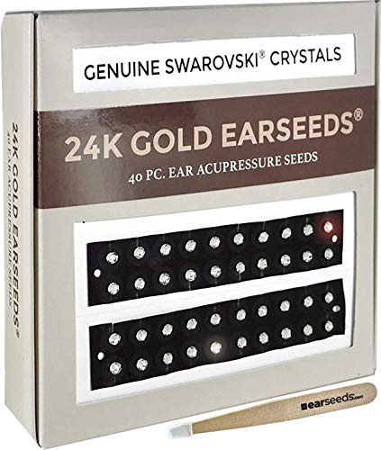 Ear Seeds: 24K Gold + Swarovski Crystals EarSeeds Acupressure Kit - 40 Pieces Ear Seeds with Chart - Clear Latex-Free Tape - Auriculotherapy Pellets for Balance & Wellness