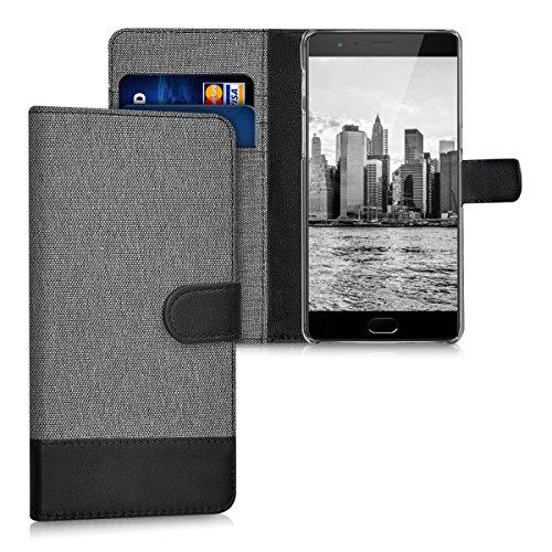 kwmobile OnePlus 3 / 3T Hülle - Kunstleder Wallet Case für OnePlus 3 / 3T mit Kartenfächern & Stand - Grau Schwarz