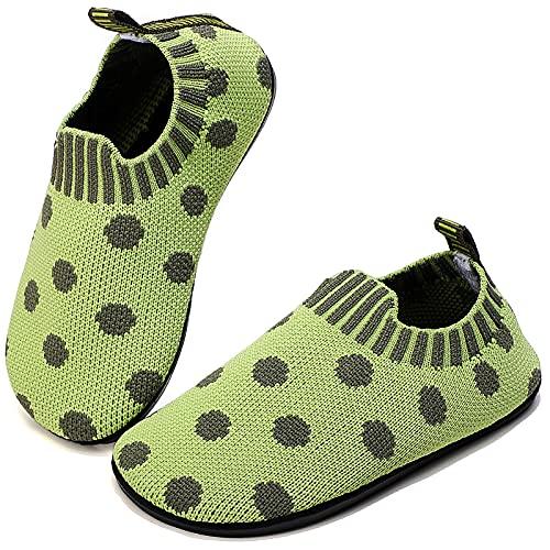 Sixspace Hausschuhe für Junge Mädchen Pantoffeln rutschfeste Kleinkinder Lauflernschuhe Leichte Atmungsaktiv Hüttenschuhe Freizeit Kinderschuhe Baby Unisex Sliper(Grün/Grau,28 EU)