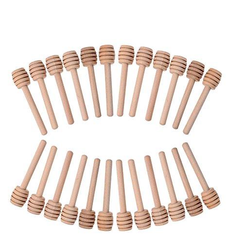 Lot de 24 mini cuillères à miel de 7,6 cm - Bâtonnets en bois pour filets de miel, mélange café, lait ou thé