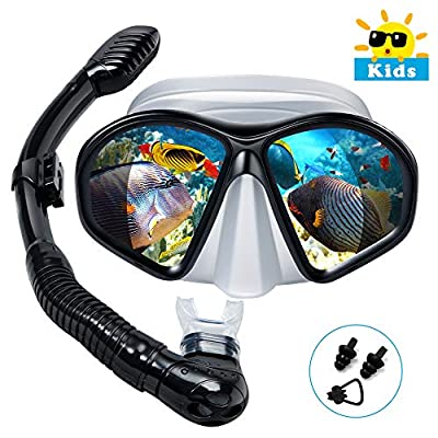Powsure Kids Snorkel Set, Dry Top Snorkel with Swim Mask, Anti-Leak Snorkeling Package of Anti-Fog Tempered Glass Diving Goggles for Children, Boys, Girls,Youth,Junior Child (Black)