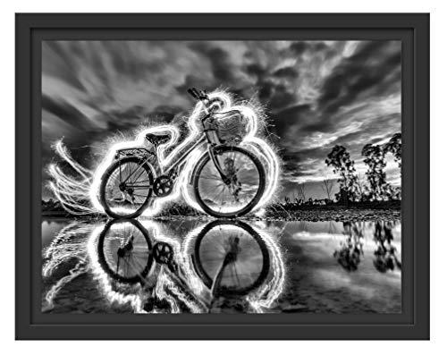 Picati Burning Bike brandende fiets in schaduwvoegen fotolijst | kunstdruk op hoogwaardig galeriekarton | hoogwaardige afbeelding op canvas 38x30