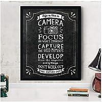 DLFALG 人生はカメラのようです引用ヴィンテージポスターキャンバスプリント黒板スタイルアート絵画写真写真家ギフト家の装飾-40x60cmフレームなし