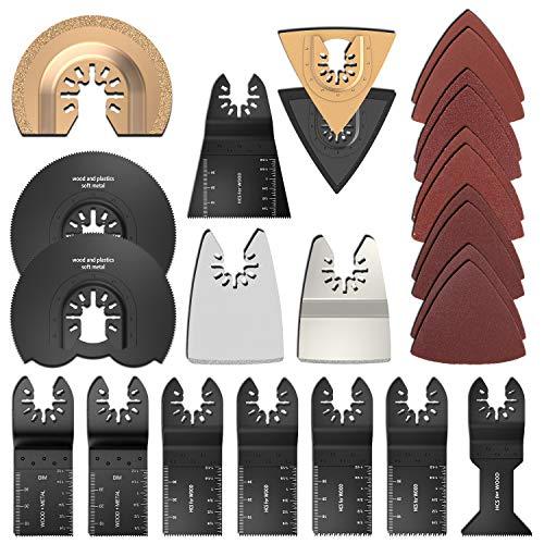 25 Stk Oszillierendes Zubehör Set Mix Klingen Multitool Sägeblätter Multifunktionswerkzeug für Fein Multimaster Dremel Dewalt Makita Einhell