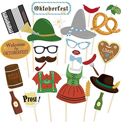JoyTplay 26 Stück Large Size Oktoberfest Photo Booth Props,Oktoberfest Photo Booth Requisiten Bayerischer Party Einzelteil Foto Stütze