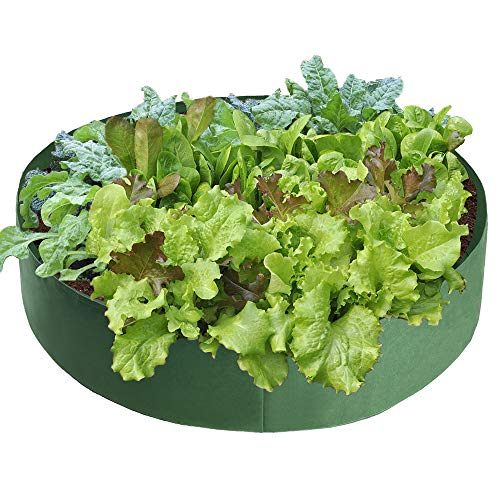 SUREH 100 Gallonen 2 Stück Stoff rund Gartenbeet Hochbeet Garten Kräuter Anzuchtbeutel Gemüse Pflanzen Beutel Belüftung Stoff Übertopf Töpfe für Pflanzen Blumen Gemüse