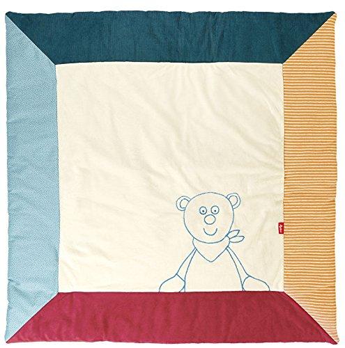 sigikid 41038 fille et garçon, couverture, écru/bleu/rouge motif ourson, taille 100 x 100 cm, 'Harvey Harvest'