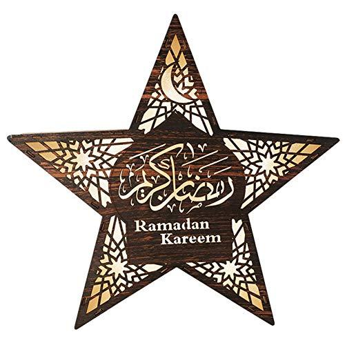 Kioski LED Licht Houten Mooie Stervorm Lamp Lantaarn Decoratie Voor Ramadan Festival Ramadan Festival Led Star Lights Houten Wandlamp Decoratie Huisdecoratie