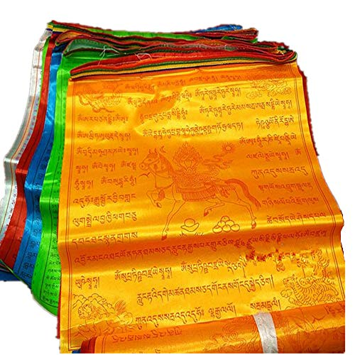 Dollbling bouddhiste tibétain drapeaux de prière 10 écritures Haut de gamme en soie Vent Cheval Drapeau 6.8 metres Corde de 20 pcs/Port Cérémonial Ronda religieux Drapeau