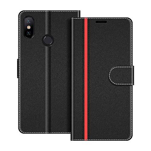 COODIO Funda Xiaomi Mi A2 con Tapa, Funda Movil Xiaomi Mi A2, Funda Libro Xiaomi Mi A2 Carcasa Magnético Funda para Xiaomi Mi A2, Negro/Rojo