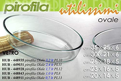 Gicos Pirofila in Vetro Ovale 23 * 16 * 5 cm Contenitore utilissimi Cucina stoviglie HUB-448843