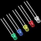 Nsdsb 100 Piezas de Cinco Colores Bombilla LED de Alta Potencia 2 Pines lámparas de diodo emisor Rojo y Azul y Verde y Amarillo y Blanco