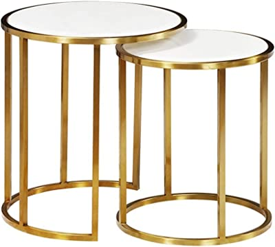 Lcxliga Modern 2 Nest of Side Tables with Storage for Living Room | Round Coffee Nesting End Tables for Small Spaces