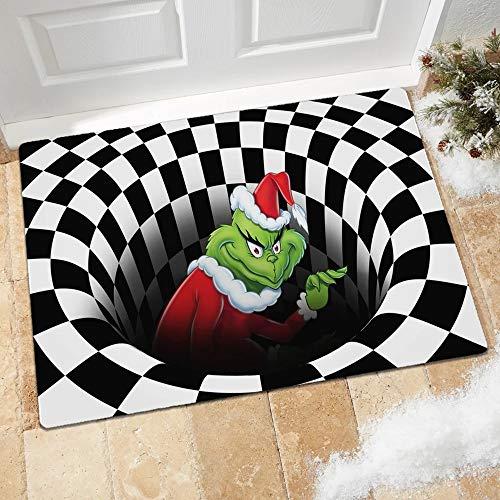 WYVV Christmas Grinch 3D Illusion Fußmatte Anti-Rutsch-Bodenmatte Nachttische Teppiche für Schlafzimmer Wohnzimmer Kinderzimmer Dekor Teppich (Black Hat, 40 * 60cm)
