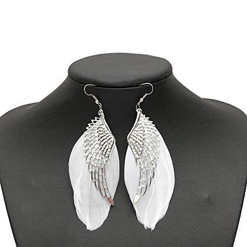 Donnez Meilleur - Pendientes con forma de pluma, color blanco
