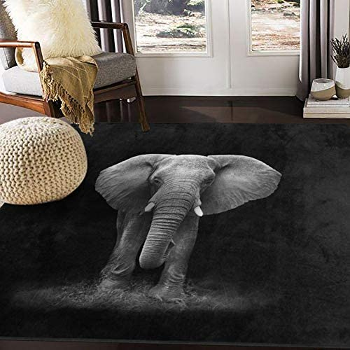 ALAZA African Elephant Black Area Rug Rugs for Living Room Bedroom 7 x 5 product image