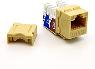 Beszin Cat.6 RJ45 110 Type Keystone Jack (10-Pack, Ivory)