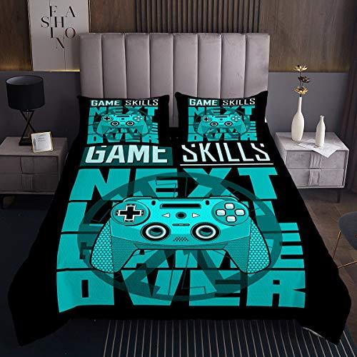 Gamepad Tagesdecke 220x240cm Gamers Gaming Steppdecke Video Spiele Fähigkeiten Geometrisches Bettüberwurf Schick Teal Blau Action Buttons Wohndecke 3St