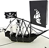 PopLife Black Pirate Ship Pop Up Card for All...