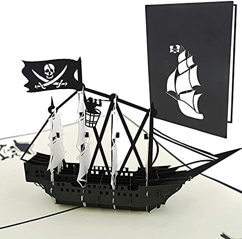 PopLife Black Pirate Ship Pop Up Card for All Occasions - Happy...