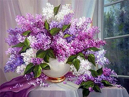 Diy artesanía diamante pintura lila rhinestone arte 5D diamante mosaico hecho a mano flor decoración diamante pintura A2 50x70 cm