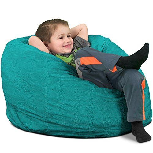 ULTIMATE SACK Bean Bag Chairs in Multiple Sizes and Colors: Giant Foam-Filled Furniture - Machine Washable Covers, Double Stitched Seams, Durable Inner Liner. (Kids Sack, Teal Suede)