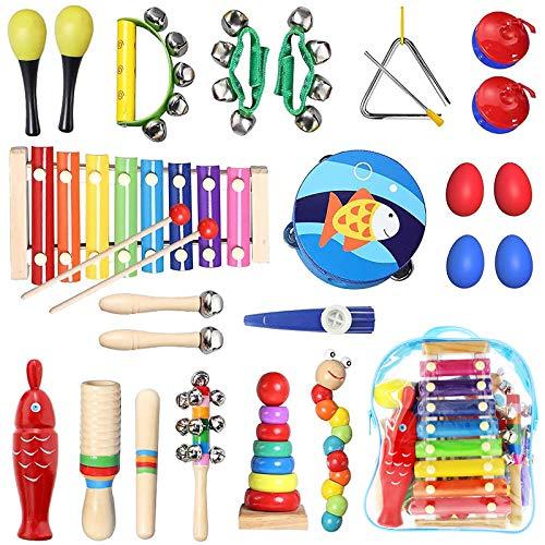 TOPERSUN - Juego de 28 instrumentos musicales para niños, juguetes musicales de madera, regalo para niños