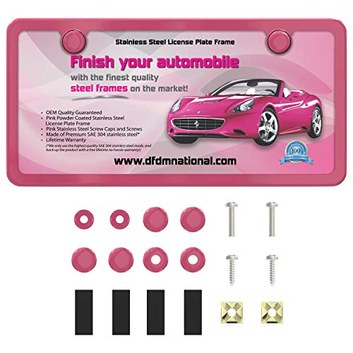 DFDM National Powder Pink Stainless Steel License Plate Frame – Premium Stainless Steel (SAE 304) Kit, Includes Screws, Fasteners, Caps, and Foam Insulation - Anti-Theft Model - 2 Hole Bracket