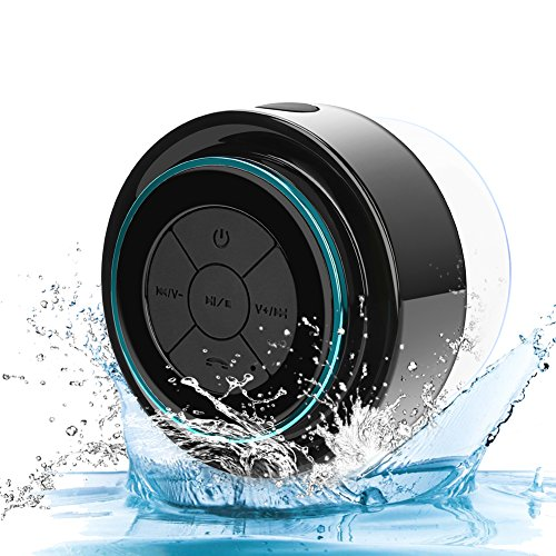 GoodPro Bluetooth Shower Speaker Portable Wireless Waterproof Speaker HD Sound and Bass Suction Cup Hands-Free Built-in Mic 002 (Black)