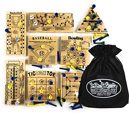 Matty#039s Toy Stop Deluxe Classic Peg Games Wood Puzzles Baseball Basketball Bowling Conqueror Football Golf Mill amp Tic Tac Toe Gift Set Bundle with Bonus Storage Bag  8 Pack