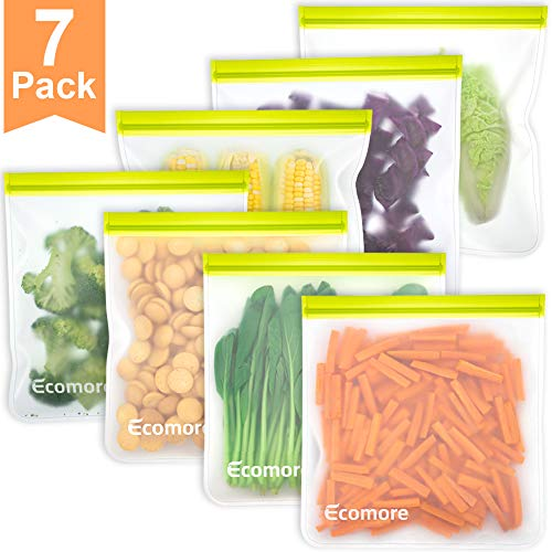 Reusable Gallon Storage Bags - 7 Pack 1 Gallon Ziplock Bags, LEAKPROOF Easy Seal Gallon Freezer Bags for Marinate Meats, Snack, Sandwich, Fruit, Cereal, Travel Items, Meal Prep, Home Organization