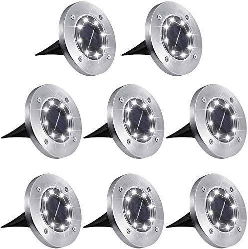 Solarleuchten für Außen 8 LEDs Solar Bodenleuchte aussen Gartenleuchte Solarlampe led solar strahler Deko für Rasen,Gehweg,Pool,Terrassen 8 Stück (Weiss)