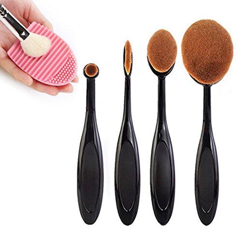 Sunroyal Set di 12 pennelli da trucco professionali con manico in bambù, setole sintetiche (pennello kabubi