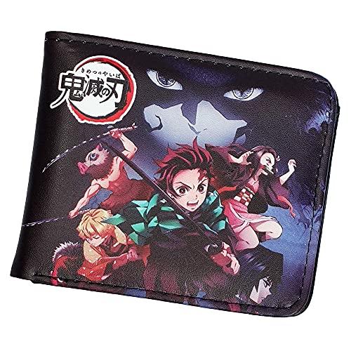 2019 Anime Demon Slayer Kimetsu no Yaiba Kamado Tanjirou Cosplay Short Wallet Bifold Leather Moneybag Accessory Halloween