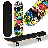 WeLLIFE - Skateboard RGX Tabla Skate (79 x 20 cm en 9 capas de acero diseño cóncavo rueda PU 54 x 36 mm Super Smooth para niños jóvenes adultos Rodamiento ABEC-7RS (413)