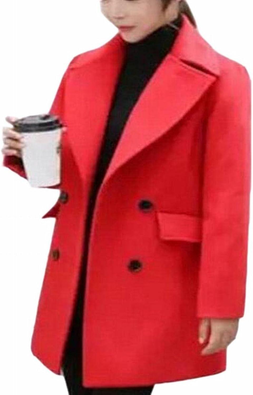 YUNY Women's Fashion Lapel Double Breasted Wool Blend Pea Coat Outwear