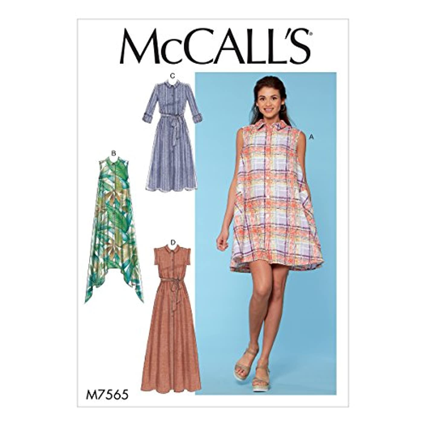 McCall's Patterns M7565E50 Misses Shirtdresses with Sleeve Options and Belt